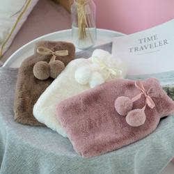 custom soft luxury fancy faux fur hot water bottle with plush cover