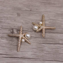 Bride korean gold starfish pearl hairpin wedding dress accessories cute custom hairpin