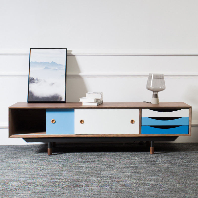 2019 modern design Color combination new model long tv cabinet console with rubber wood legs