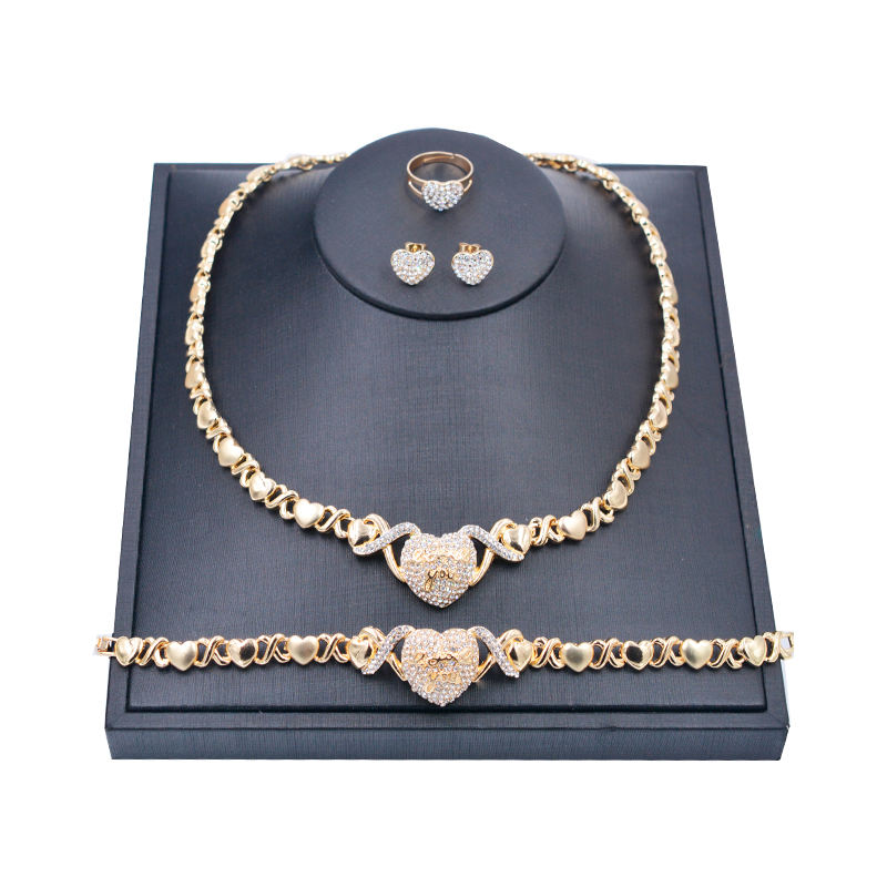 Mix Style Hot sell 24k gold women kids jewelry sets,hearts xoxo necklace set jewelry