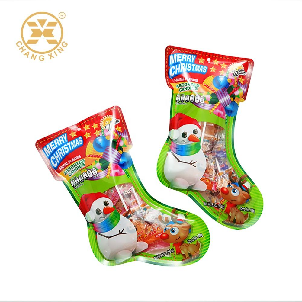 Eco Friendly Printed Standing Snack Lollipop Candy Food Packaging Ziplock Bag With Euro Hole Christmas Cracker Packaging Pouch