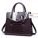 large capacity 2019 new fashion crocodile leather joining different color handbag for ladies