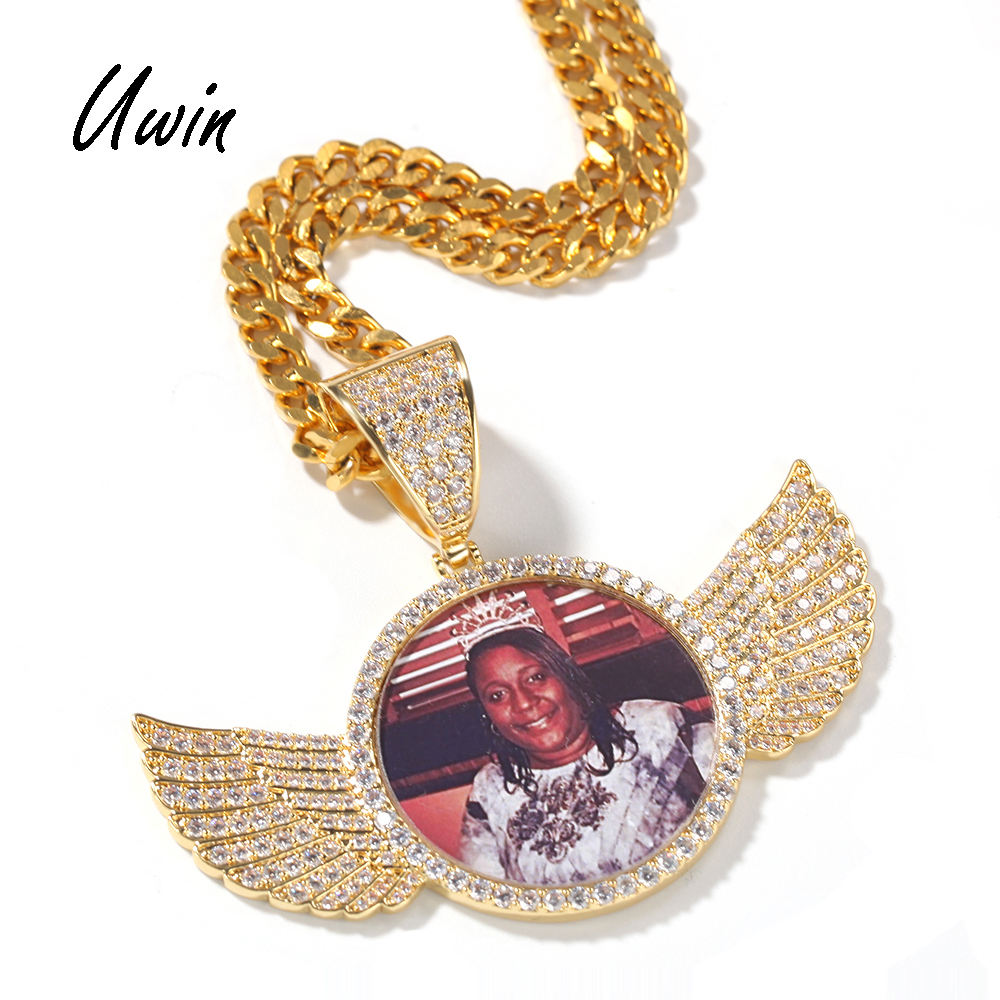 UWIN Hip Hop Custom Round Wings Photo Pendant CZ Necklace Personalized Women Men Gift Bling Gold Jewelry