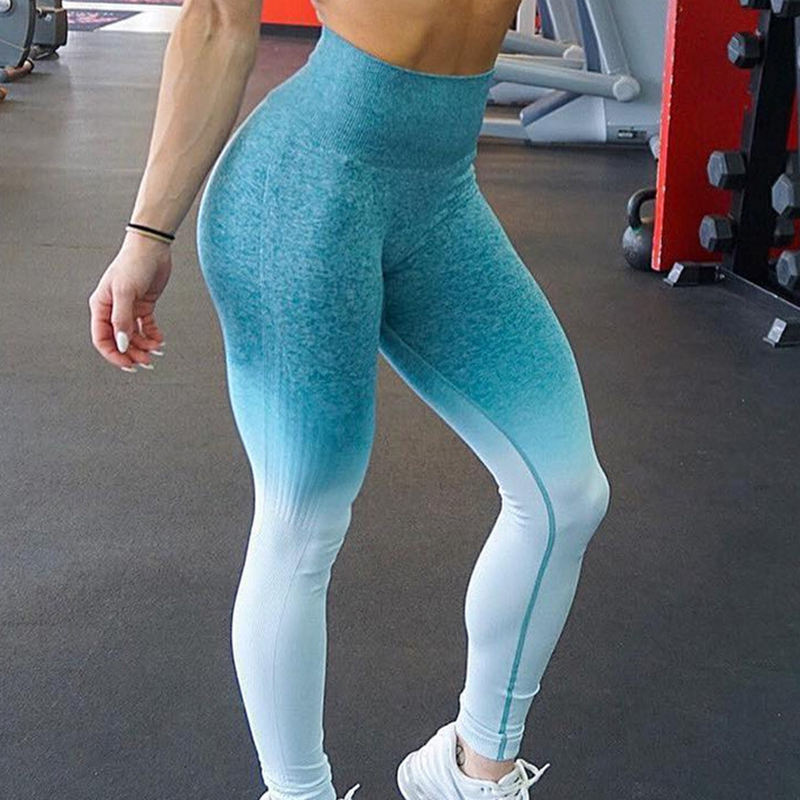 Seamless Gradient Yoga Leggings Stretch Compression Workout Leggings Tight Sports Pants