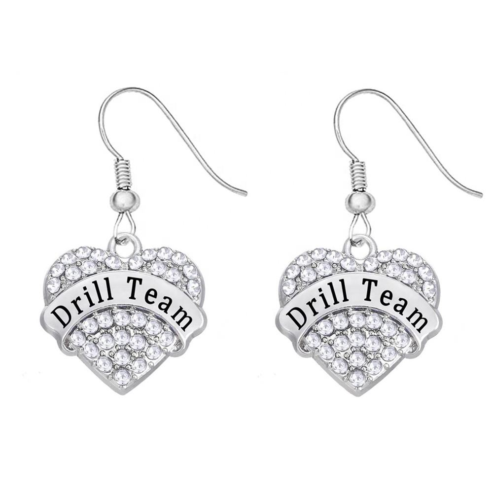 Custom clear rhinestone crystal letter heart shape charms drill team pendant earrings for the player