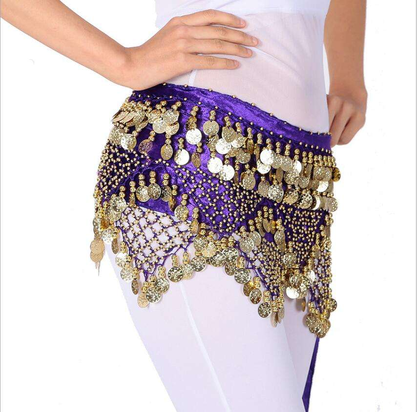 Wholesale cheap Beaded coins Waist hip scarves belt For belly dancing