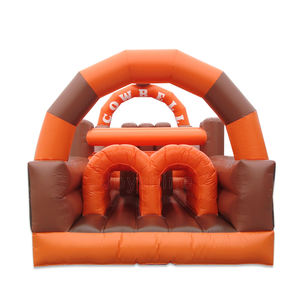 Cow Bull Commercial Inflatable Kids Adults Bouncy Castle Wipeout Obstacle Course Bouncer For Sale