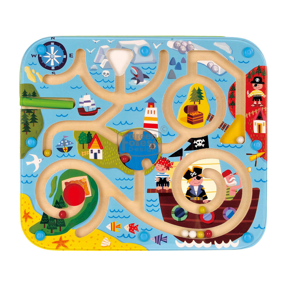 "Kids puzzle Board Toy children's toys Wooden ""Pirate"" Magnetic Maze Educational Wood Toy"