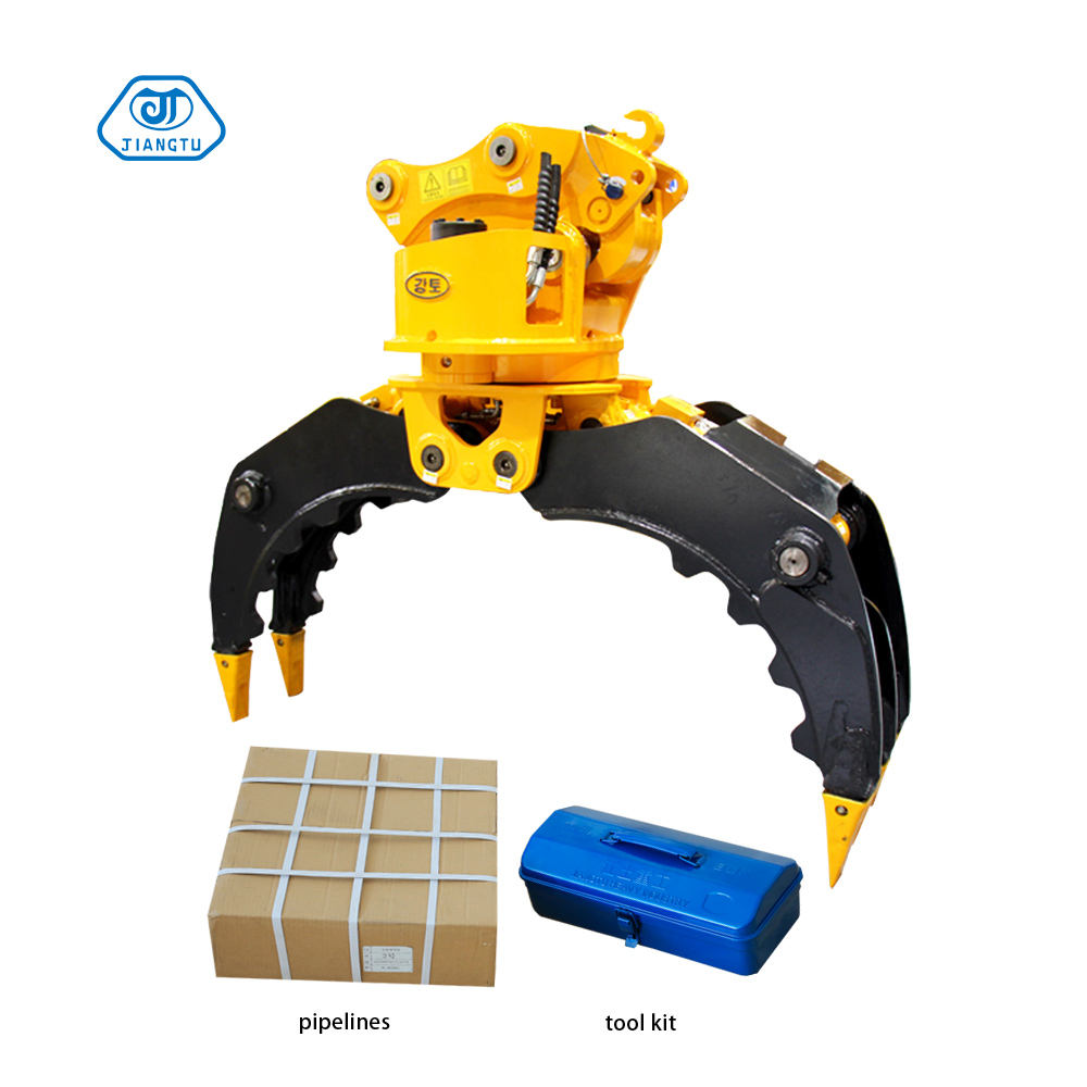 Excavator attachments rotating stone /scrap steel grapple for sale
