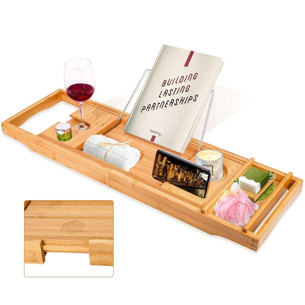 Bamboo Bathtub Caddy Tray with Wine Glass Holder,Book Stand Bathroom Organizer with Extending Sides