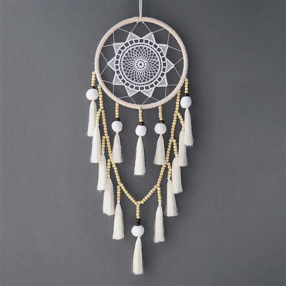 Boho Handmade Dream Catcher White Tassels Wood Beads Dreamcatcher For Wedding Decoration