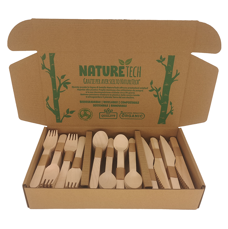 Composable 300pcs Unit Fork Spoon Knife Flatware Dinner Disposable Wooden Cutlery Flatware Set with Amazon Label Barcode