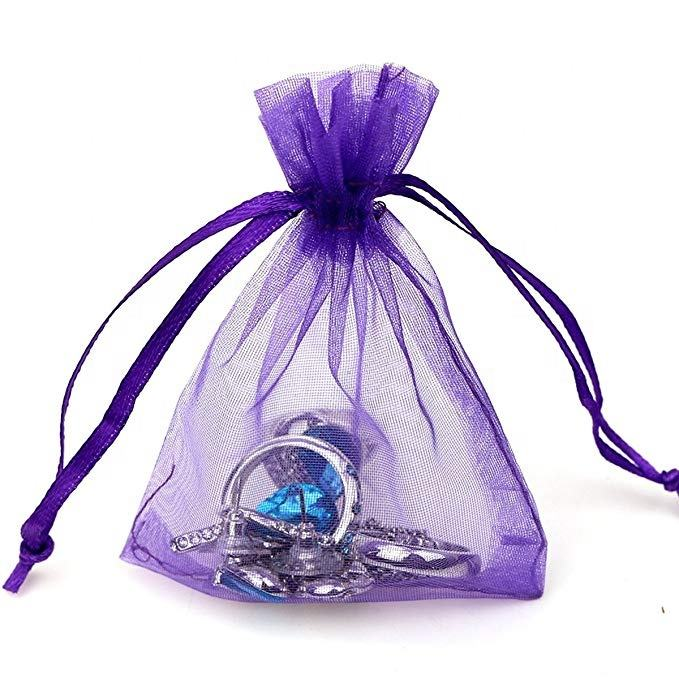 Organza gift candy sheer bags mesh jewellery pouches drawstring bag