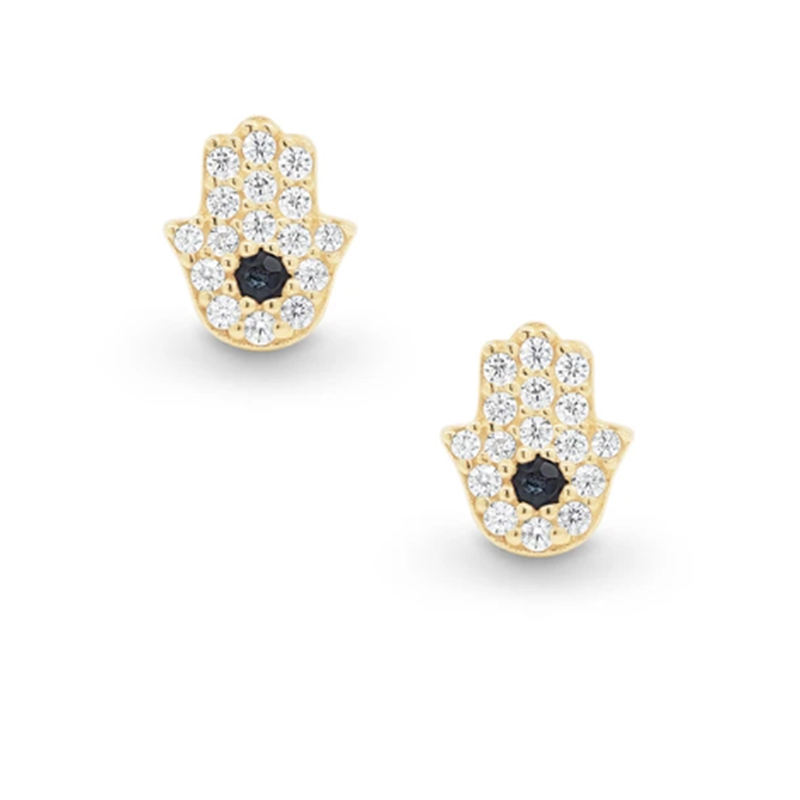 European and American Fashion 925 Sterling Silver Angel Eye Black Diamond Stud Earrings