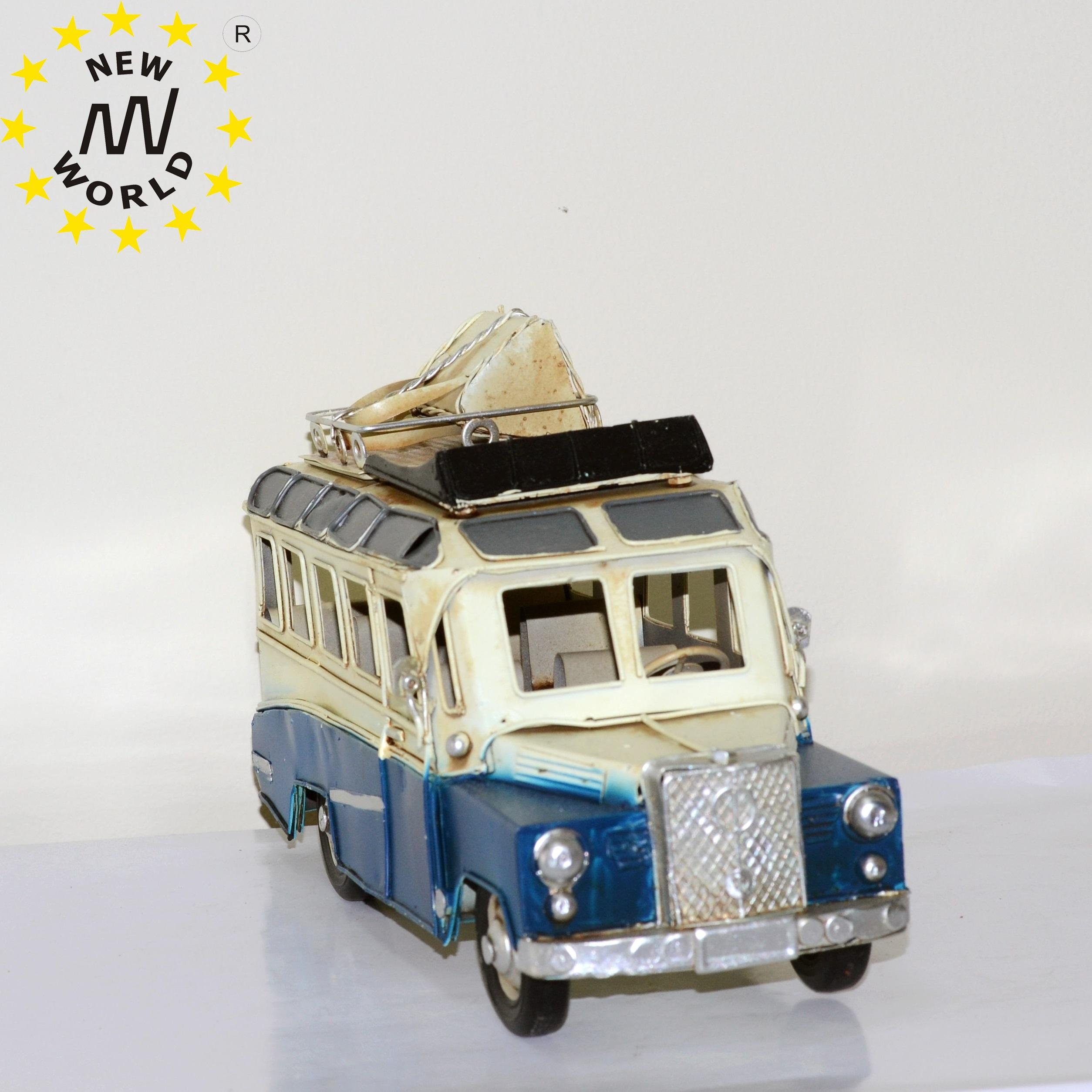 Metal Vintage Bus Model For Home Decoration Ornaments Handmade Handcrafted Collections Collectible Vehicle Gift