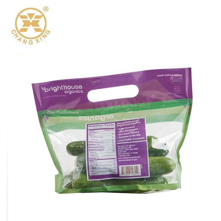 Anti-Fog OPP Plastic Fresh Vegetable/Fruit Packaging Zip Lock Bag with vent Holes and punch handle