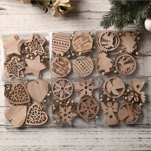 laser cut wood decor wooden Christmas pendants American country home decoration gift accessories Carved wood chip ornaments