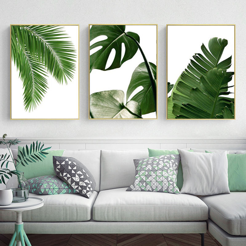 Green Tropical Leaves Wall Decor Art Canvas Painting Plants Nordic Posters and Prints Wall Pictures For Living Room