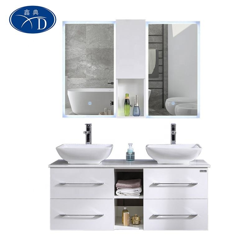 Pvc Bathroom Cabinet 2020 Hangzhou Factory Supplying Modern Designs PVC Bathroom Cabinet With LED Mirror For Wholesale