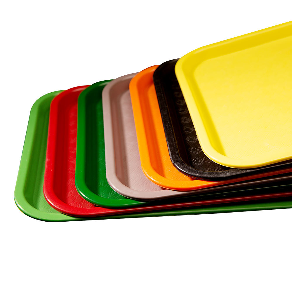 Wholesale RectangularPlate Plastic Fast Food Serving Trays for supermarket