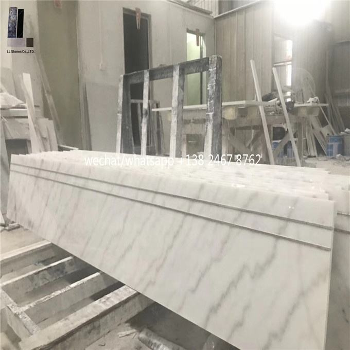 black marble and white stone Factory price for indoor customized marble stair tread in white marble looks