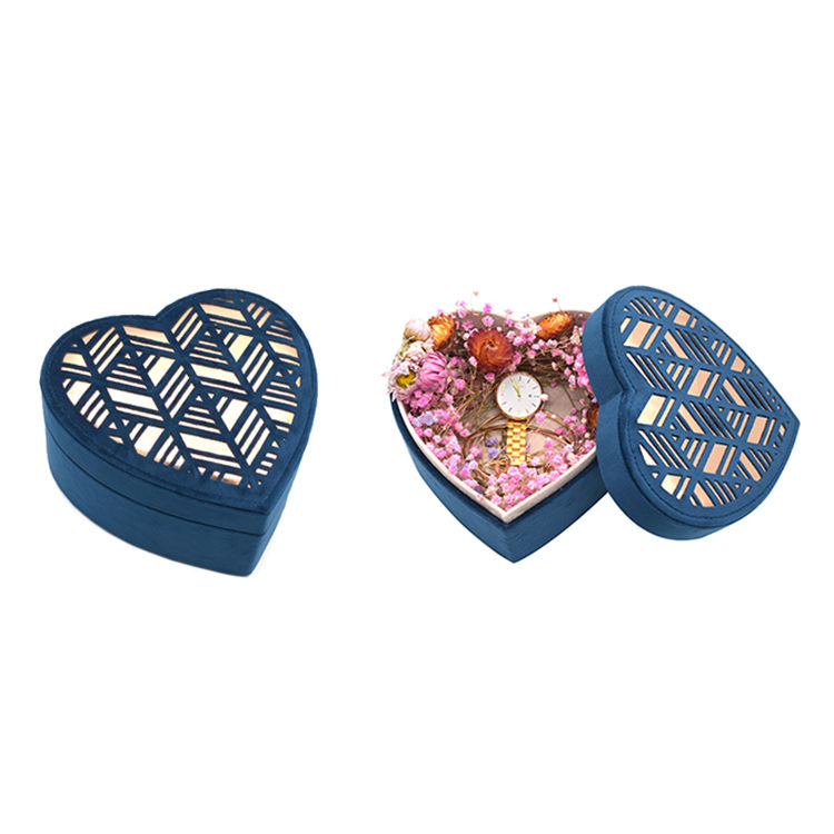 PU Leather Jewelry Box Promotion Durable Heart Jewelry Packaging Organizer Box Velvet Luxury