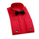 High Quality Double Cuff Wedding Cotton Polyester Red Men's Groom 6XL Shirt For Tuxedo
