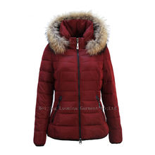 Hot Sale Medium quilted Style Ultralight Solid Women Winter clothes with fur jacket