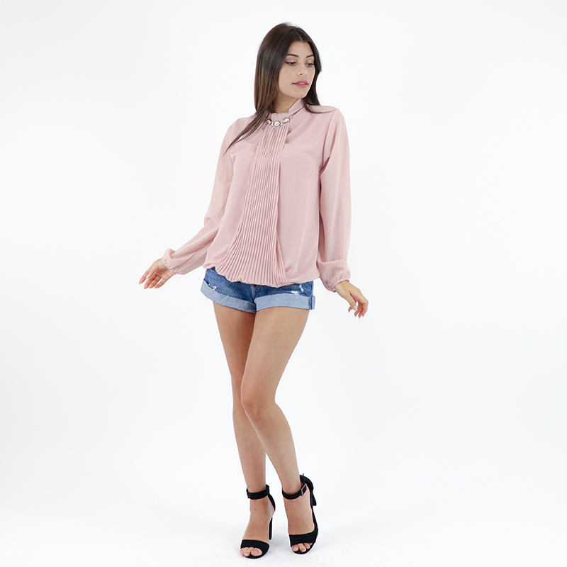 Italian Fashion Style Chiffon Draped Shirt Tops for Women