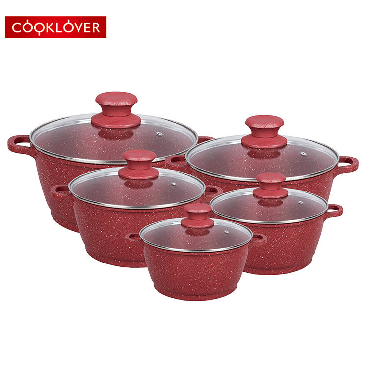 cooklover 10pcs die casting aluminum non stick marble coating cookware sets