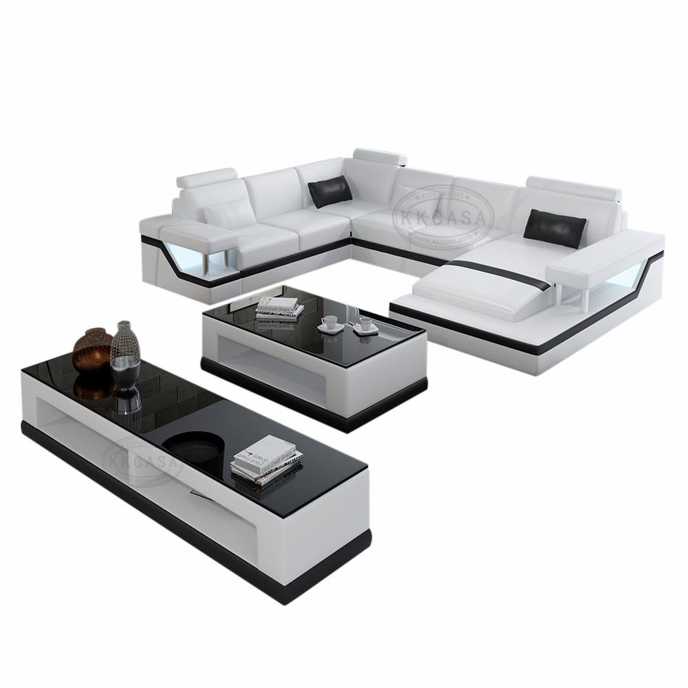 Modern European Style 7 seater Sectional l shaped Dubai luxury house use leather sofa vintage cosy type furniture