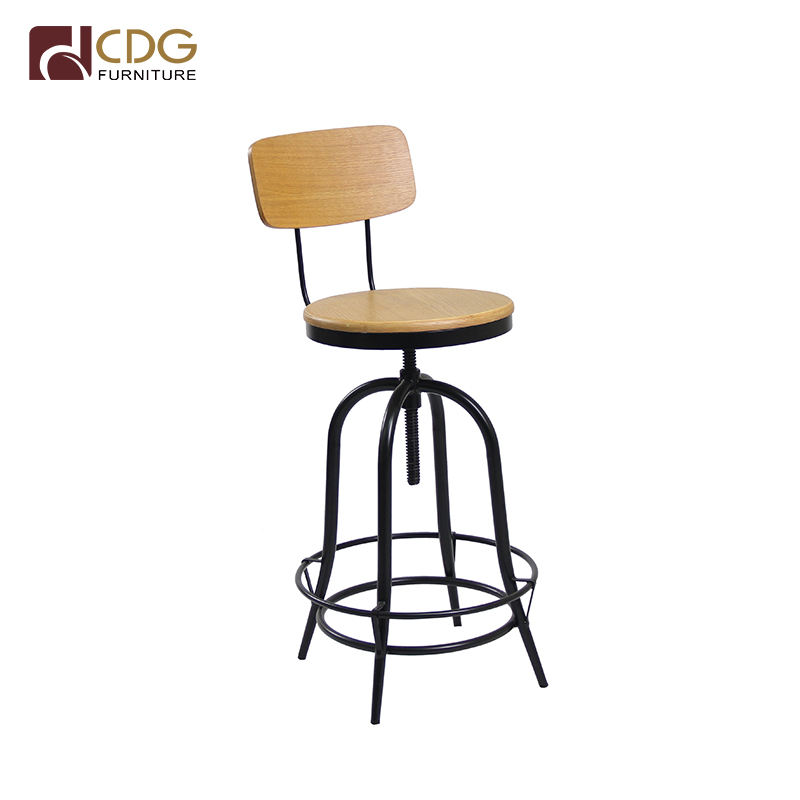 Bar Furniture Metal Frame Wood High Industrial Bar Stool Bistro Chair