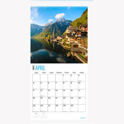 2021 Mountains wall calendar made of recycled paper for offices