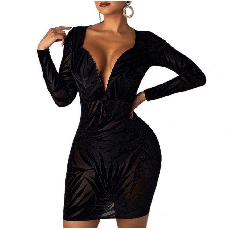 2019 Woman Apparel Print Black Plunge Bodycon Dress With Sleeves Women Midi Dresses