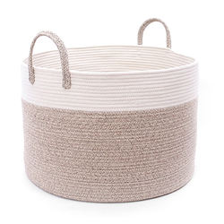 Cotton Rope Storage Basket Woven Laundry Basket for Blankets Toys Storage Basket with Handles