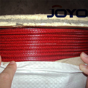 Lowprice Red color PVC coated Galvanized 7X19 steel wire rope