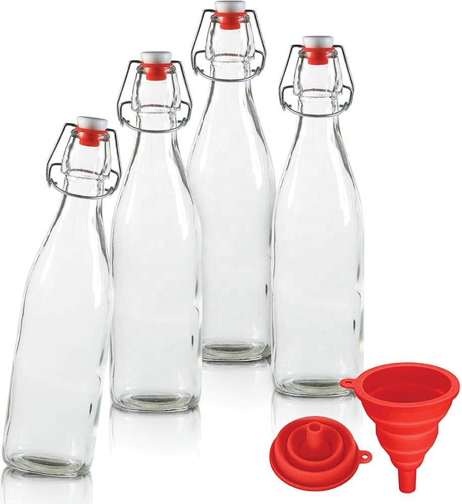 16oz Square Swing Top Easy Cap Glass Beer Bottles (500ml)