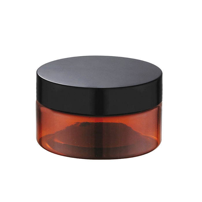 100ml 150ml 200ml 250ml 300ml hot sale empty large cosmetic cream hair gel food container amber plastic jar with black screw lid