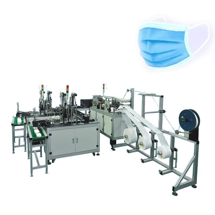 Fully Automatic 3 Ply Non Woven Folded Disposable Surgical Medical Ear-loop Type Face Mask Manufacturing Making Machine