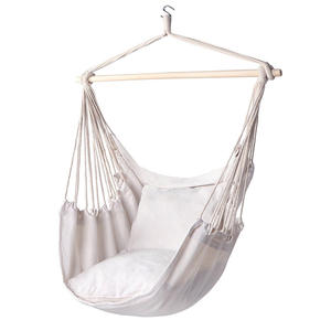 Hot sale cotton rope hanging hammock chair with wood bar