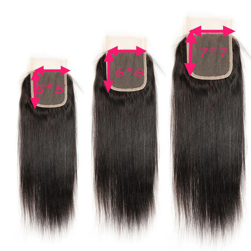 Wholesale Pre-Plucked Brazilian Free Part Straight Virgin Hair 5X5 6X6 7X7 Swiss Lace Closure