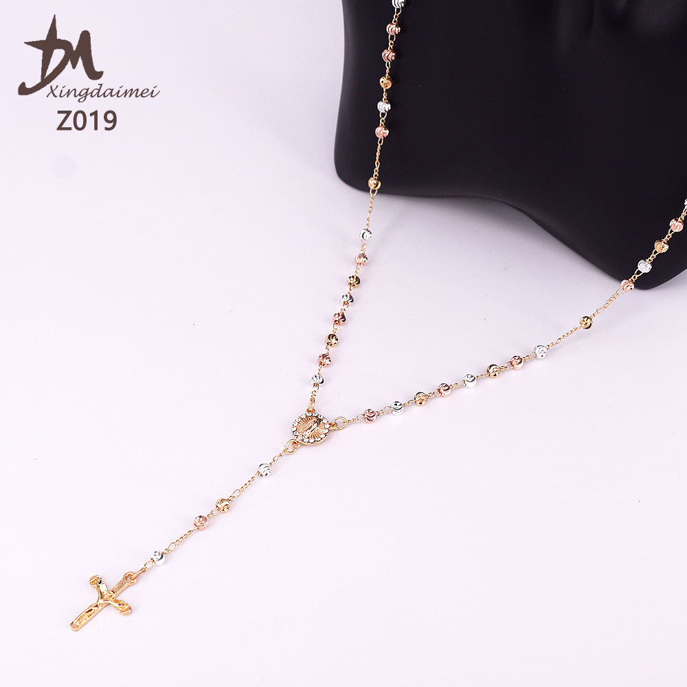 Z019 gold rosary necklace wholesale three colors religious jewelry rosary beaded necklace