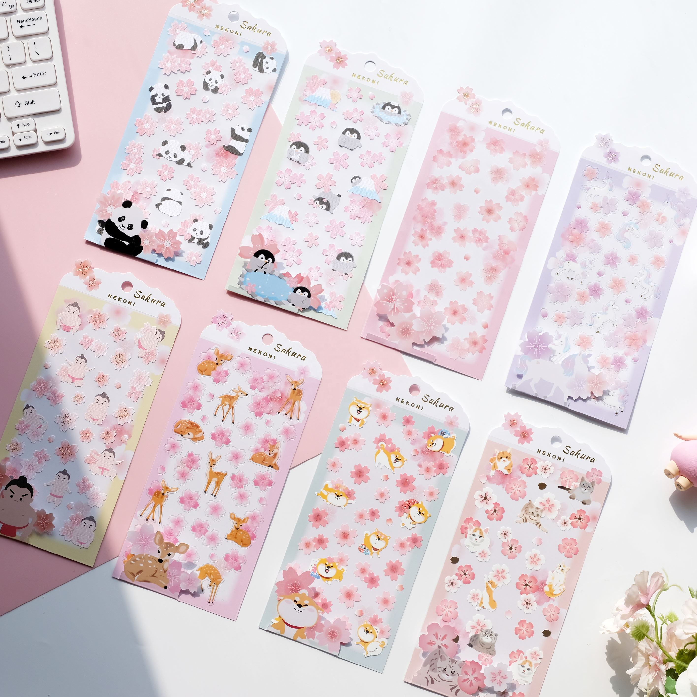 Nekoni Original Design Cherry Blossom Festival Sakura Washi stickers