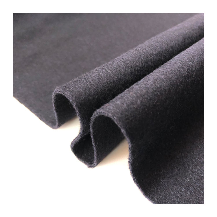 black 30 cashmere 70 wool over coating fabric single faced for coat