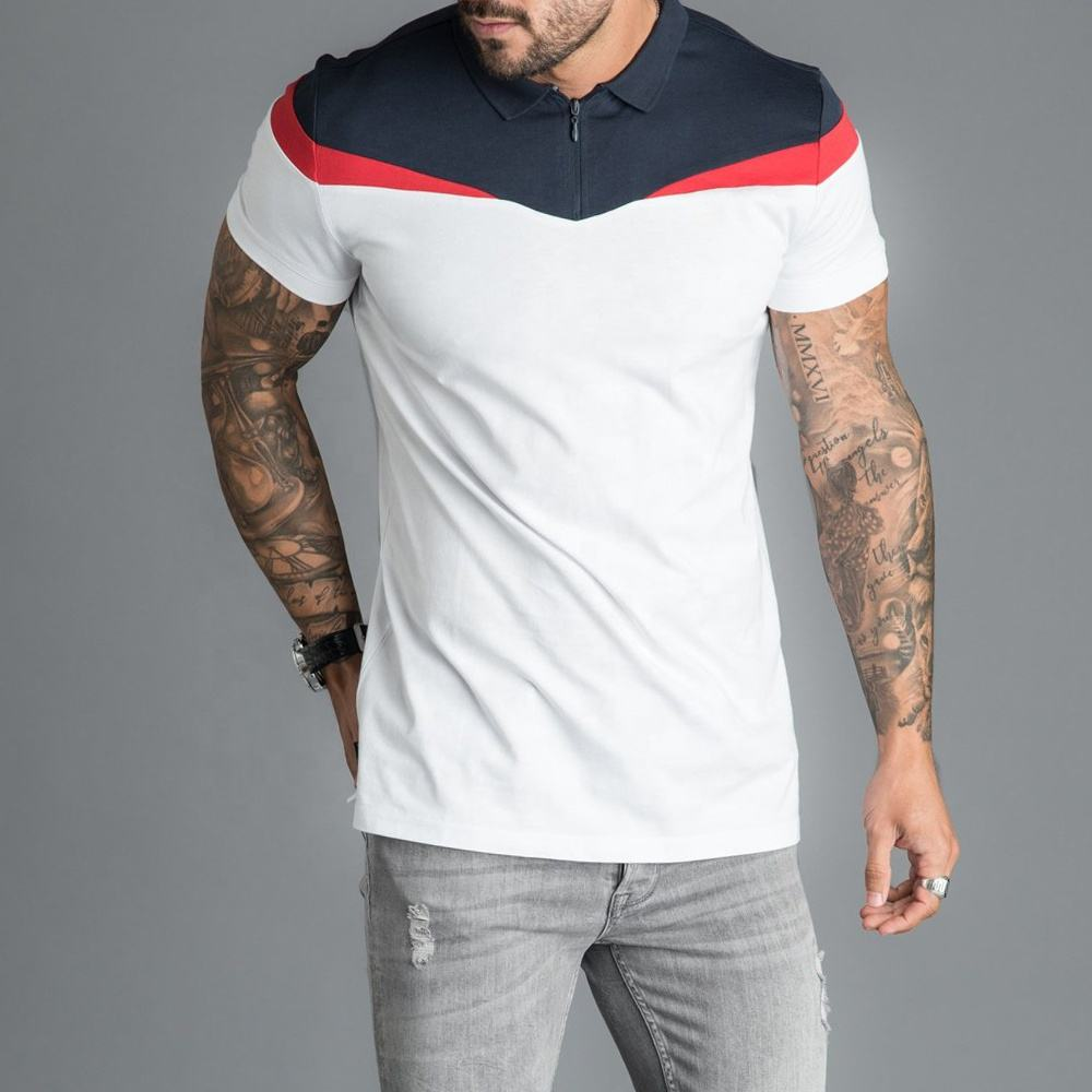 Men's Polo Shirt Contrast Core Plus Short Sleeve Polo Shirt White/Red/Navy