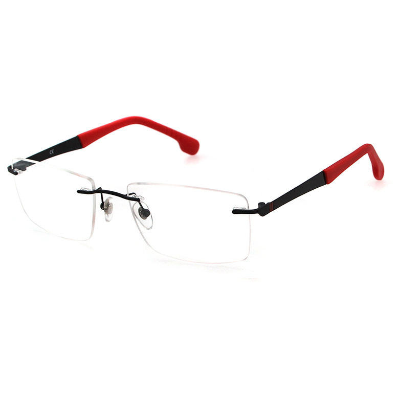 High Quality Optical Frames High Quality New Style Italy Design Rubber Tip Fashion OEM Men Square Metal Optical Eyeglasses Frames Rimless