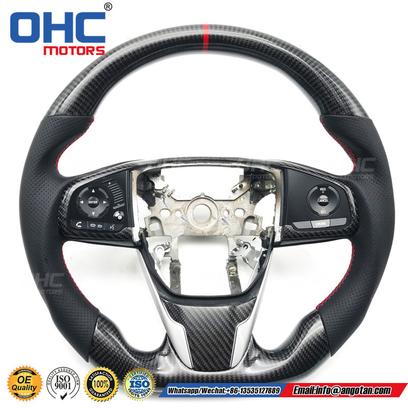 Black Perforated Leather Real Carbon Fiber Steering Wheel Compatible With 10 Gen Civic/FK2 For Sale