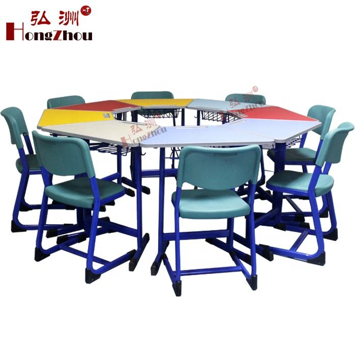 Supply Antique Kindergarten School Furniture Wooden Folding Table and Chairs Mate 8 Kids Party Table