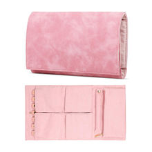 Pu Leather Foldable Jewelry Roll Purse Bag Travel Accessory Storage Pouch