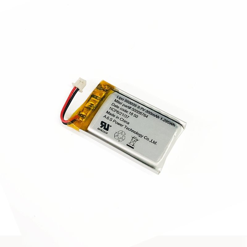 KC UL2054 IEC62133 Li polymer Batteries 552035 3.7V 350mah Lithium Polymer Battery for Bluetooth Headset/Smart GPS